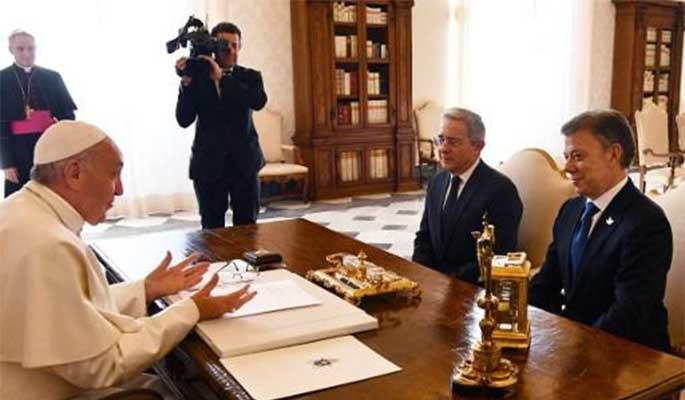 Papa Francisco recibió a Juan Manuel Santos y Álvaro Uribe en el Vaticano