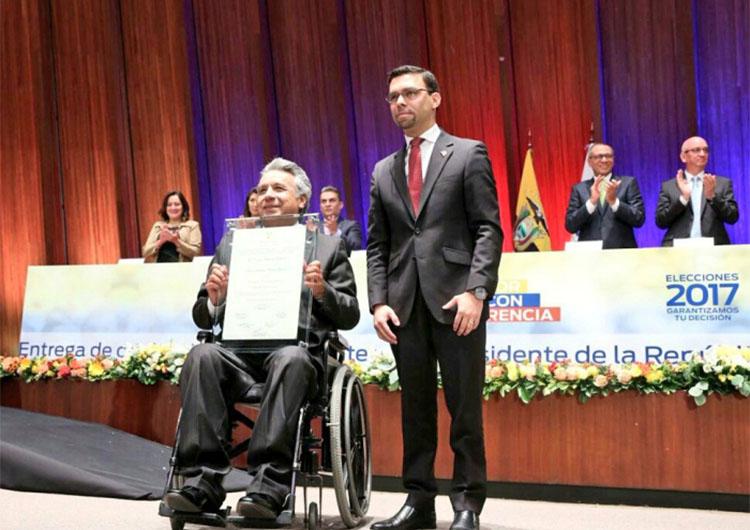 Consejo Nacional Electoral otorgó credenciales a Lenín Moreno para ejercer la presidencia