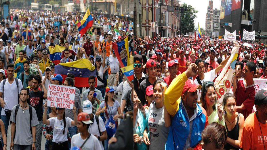 Oficialistas y opositores se movilizan este lunes en Caracas