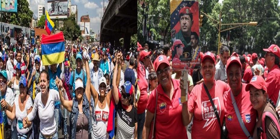 Mujeres del chavismo  y de la oposición  tomaron las calles