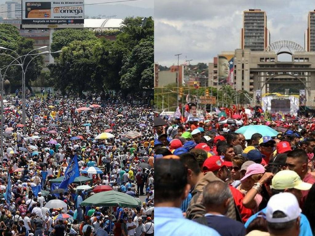 Oficialistas y opositores toman nuevamente las calles de Caracas