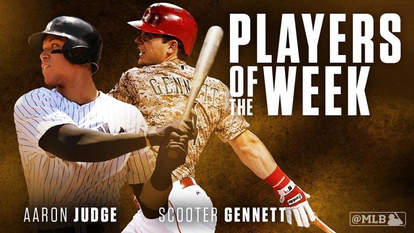 Judge y Gennett  fueron los Jugadores de la Semana