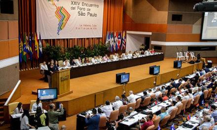 Foro de Sao Pablo rechaza bloqueo impuesto por EE.UU. contra Venezuela