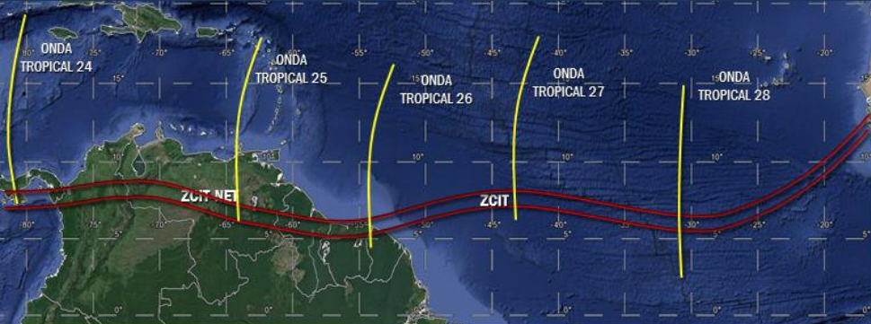 La onda tropical Nº 25 se desplaza sobre el oriente del país